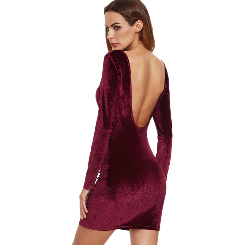 COLROVIE Sexy Club Outfits European Style Dress Party Short Long Sleeve Dress Burgundy Open Back Velvet Bodycon Dress 3