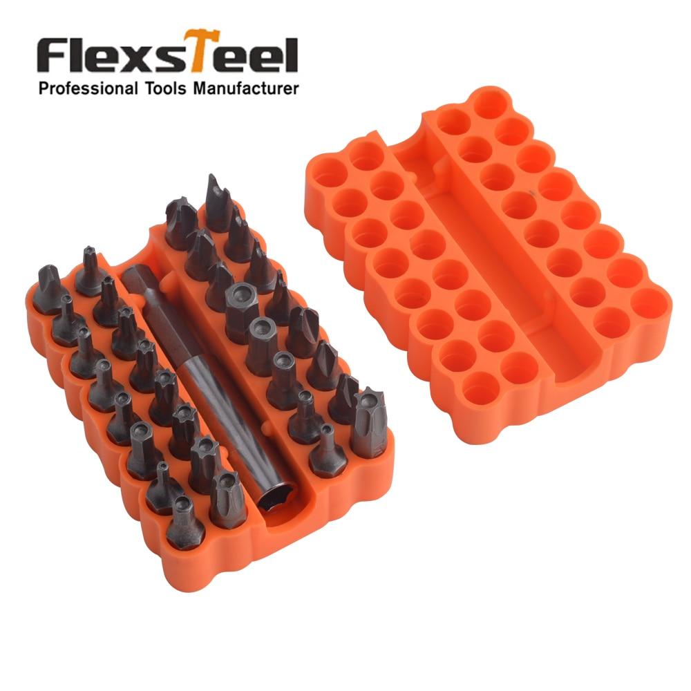 Flexsteel 33 en 1 destornillador CR-V seguridad Bit Set con extensión magnética Bit Torx hexagonal Bits herramientas de carpintería kit