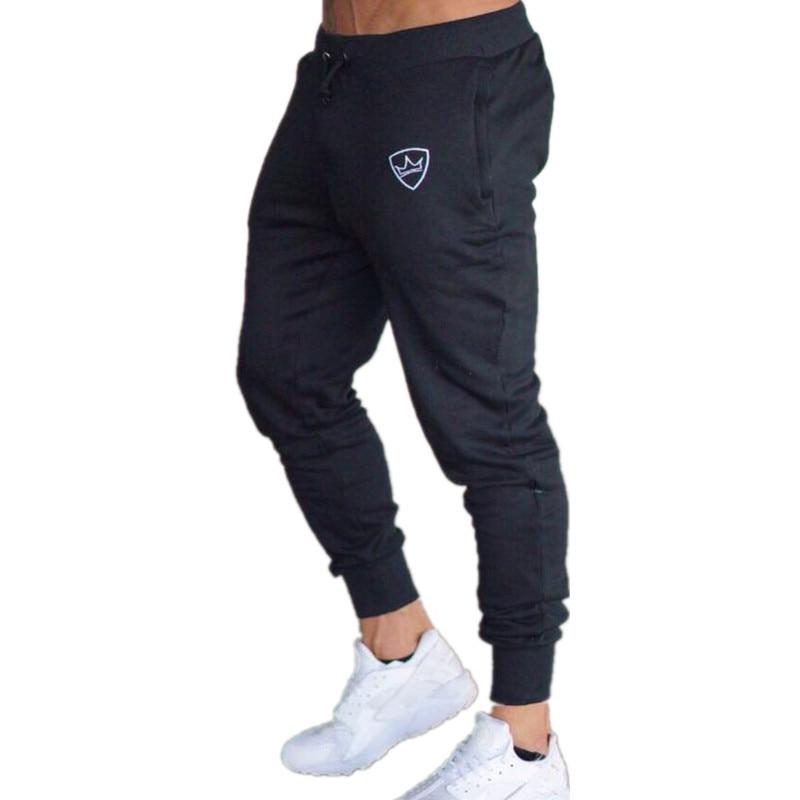 2018 Для мужчин тренажерные залы длинные Штаны Середина Хлопок Для мужчин спортивные тренировки фитнес Штаны Повседневная мода пот Штаны Jogger Брюки обтягивающие брюки