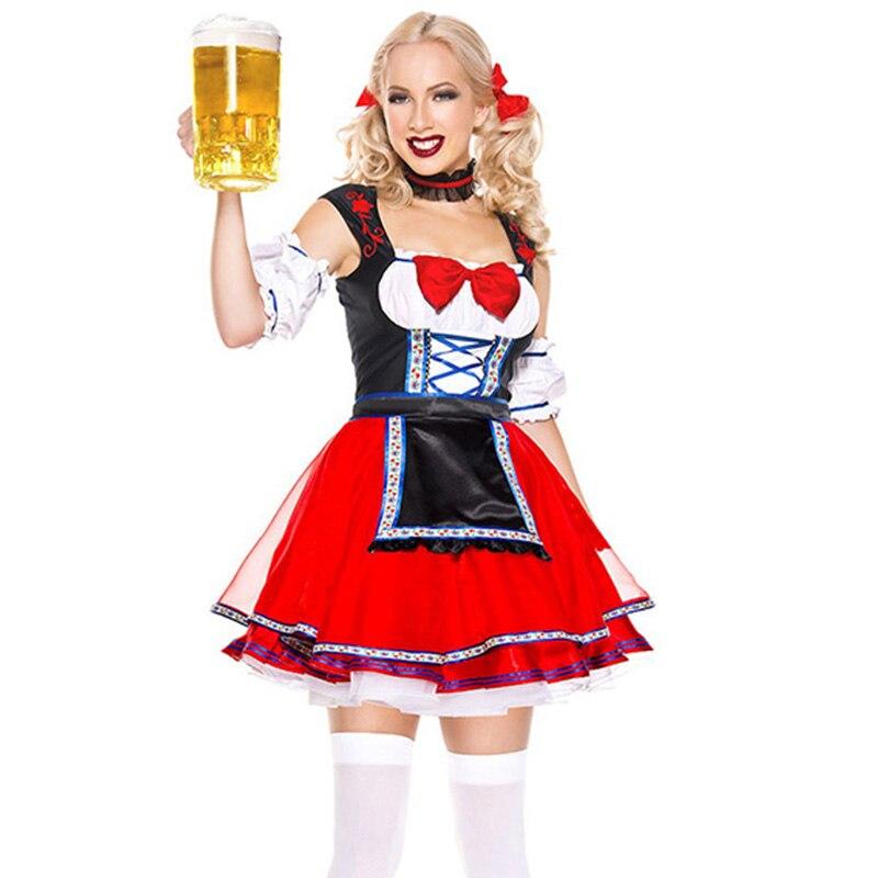 Sexy Oktoberfest Bière fille Costumes Halloween Costume Pour Femmes Carnaval Fantaisie Parti Robe Courte Domestique Française Costume