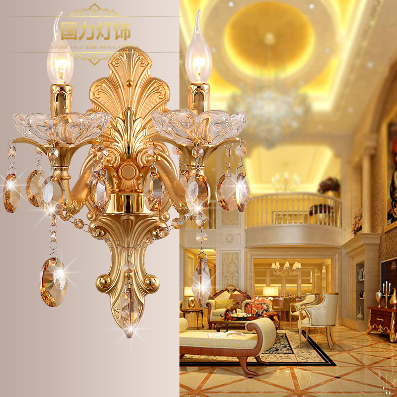 Stairs Crystal Wall incandescent / LED two lights, fashion gold candle lights.Stairs Crystal Wall incandescent / LED two lights, fashion gold candle lights.
