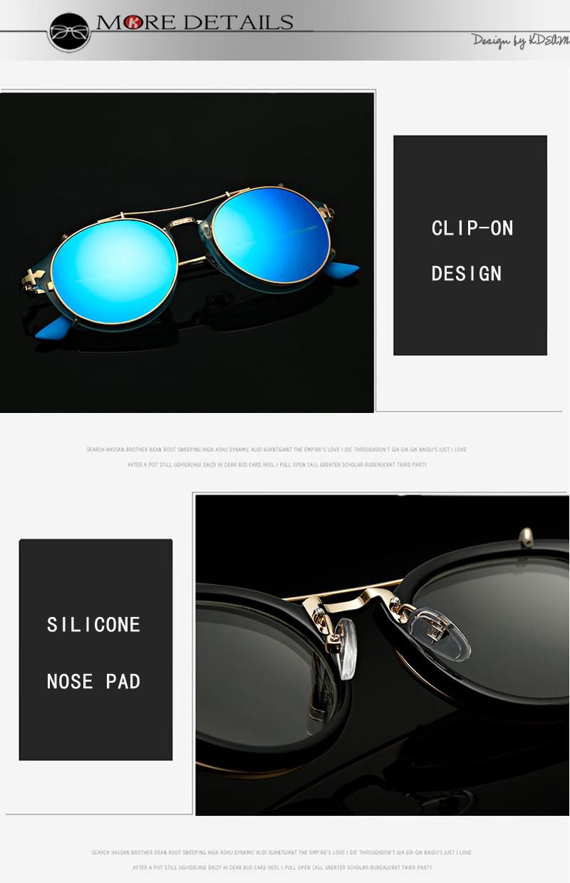 9c5e479823 Kdeam feliz Clip en gafas de sol hombres extraíbles gafas redondas  Steampunk mujeres tallado diseño gafas de sol con caja de marca