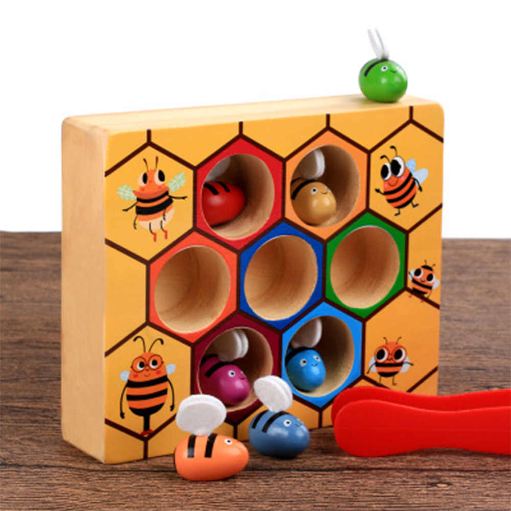 Blocks Toys beehive game Hive Board 7 bees +clamp Early Childhood Education Building Early Balance Training baby fun Wooden toys