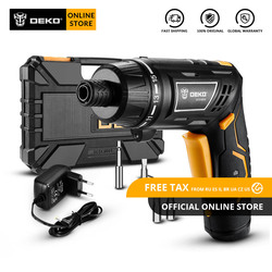 DEKO DCS3.6DU2 Cordless Electric Screwdriver with Twistable Handle Household DIY Rechargeable Battery Screwdriver with LED Torch