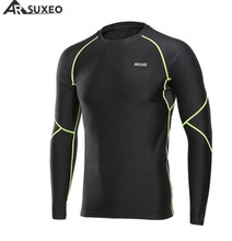 ARSUXEO Men's Winter Round Neck Warm Up Fleece Compression Baselayer Shirt Running Long Sleeves Tights Sports GYM T Shirt