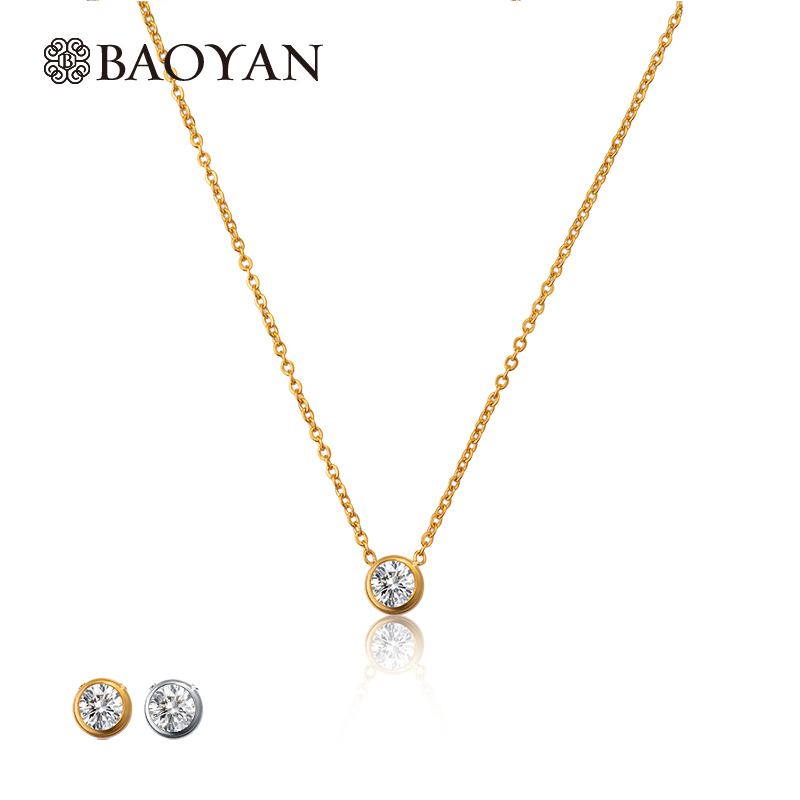 Stainless Steel Silver Gold Color Pendant Choker Necklace Fos