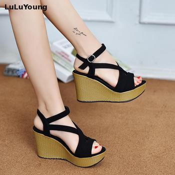 High Heel Sandals For Women In Summer 2019 New Sexy Fish Mouth Student Platform Peep Toe Wedge Gladiator Sandals