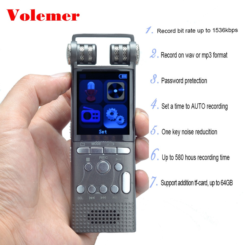 Volemer Hifi Digital Voice Recorder Professional Business Audio Tracker USB Pen Activated Dictaphone Recorder Support TF card цена