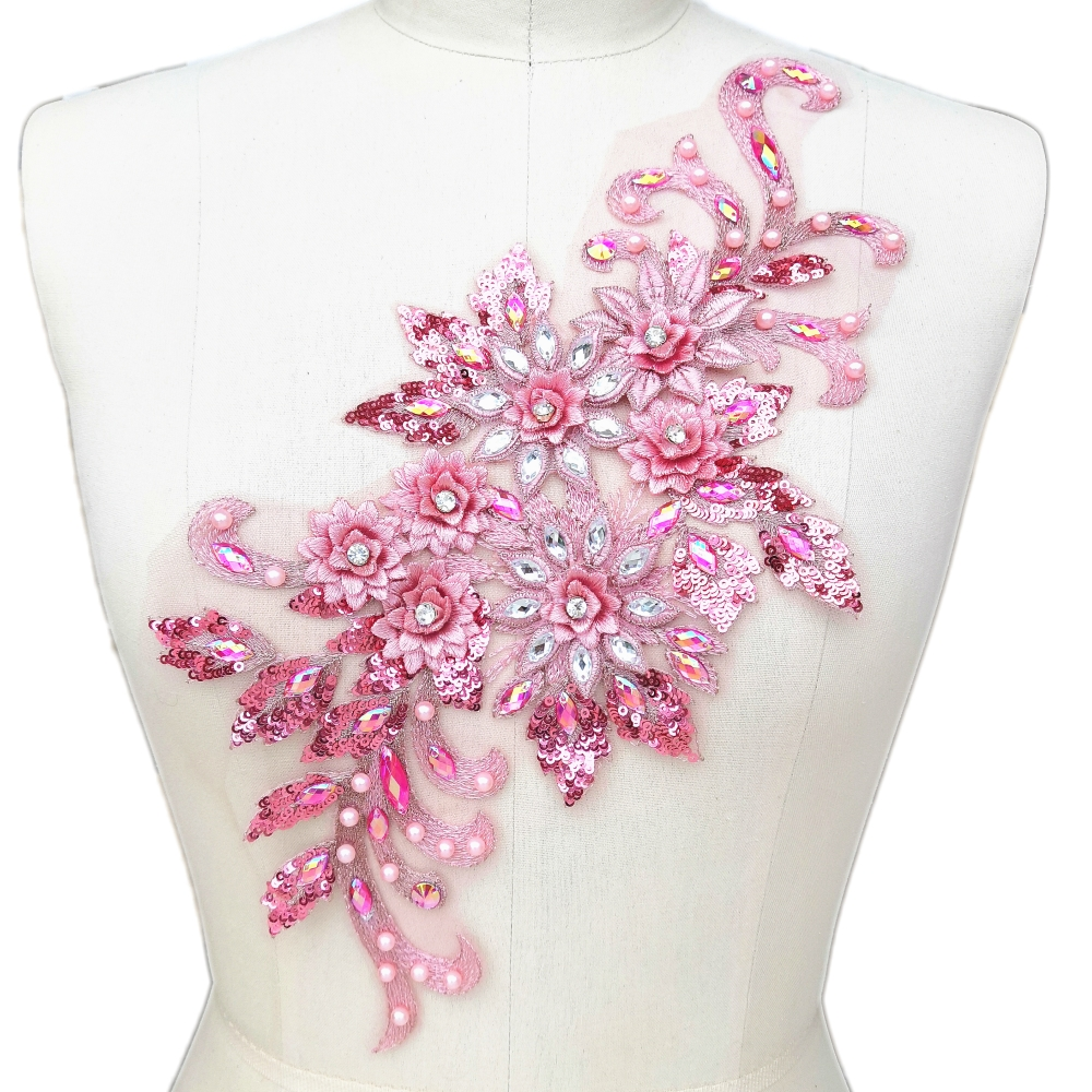 Magenta pink net embroidery patch lace applique motif dance costume trimming