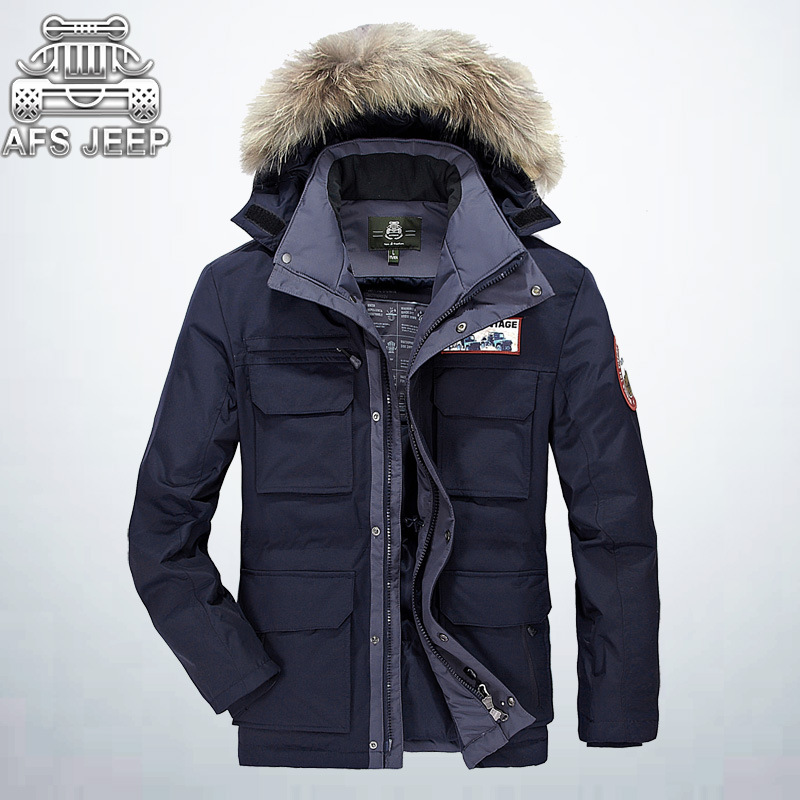 Snow Mens Fur Parka AFS JEEP Brand Velvet Thick Warm Loose Casual Hooded Coat Winter Snowimage Feather Down Jackets For Men