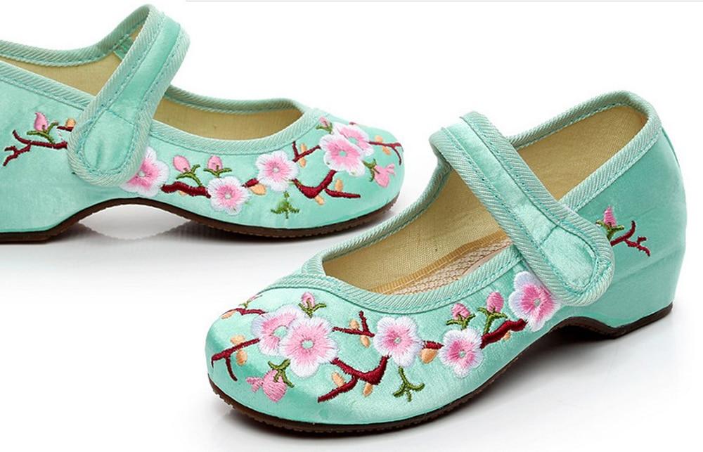 duże dziewczęce buty mary jane mały kwiat haft biały zielony - Obuwie dziecięce - Zdjęcie 5