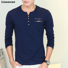 Liseaven autumn new men's long sleeved T-shirt v neck button decorated casual streetwear long sleeve t shirt men top tees