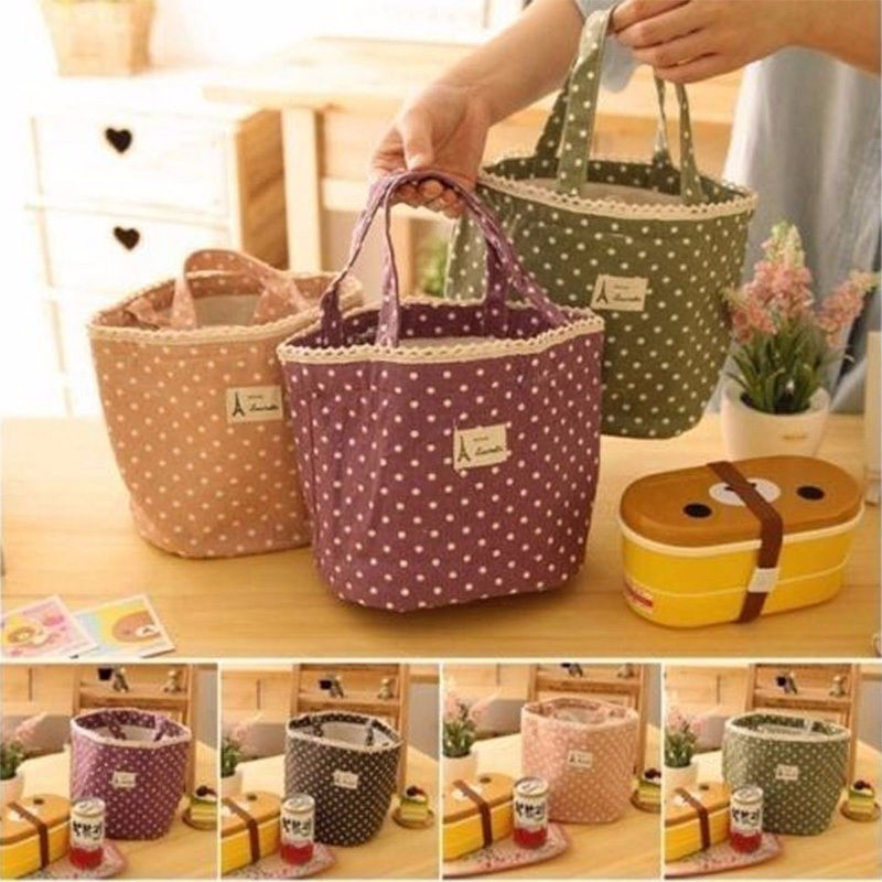 1pc Insulated Tinfoil Aluminum Cooler Picnic Lunch Box Bag Small Dot Thermal Dinner Travel Purse Zipper Waterproof Snack Food Storage Lunch Bag (4)