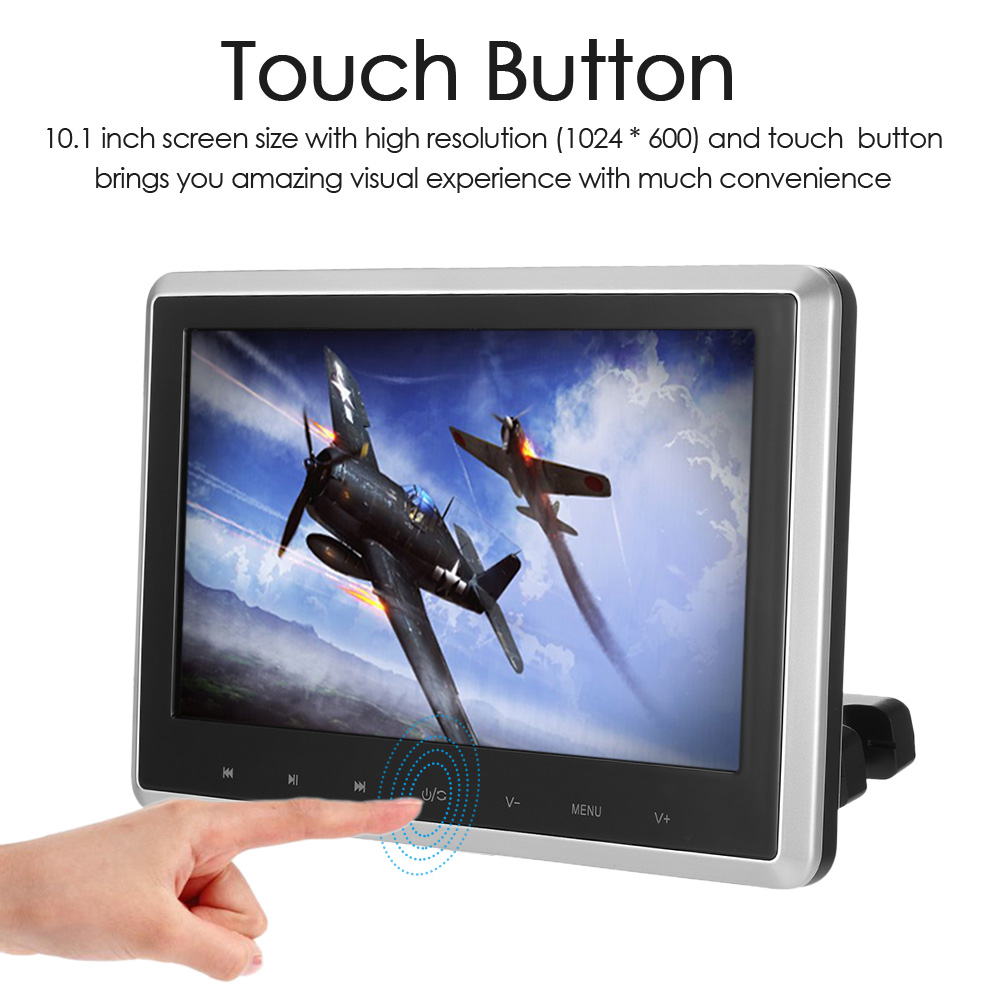 KKmoon 10.1 Inch HD TFT Digital LCD Screen Car Headrest DVD Player Touch Button Monitor 720p with HD USB SD Port Remote Control aníssej life пиджак