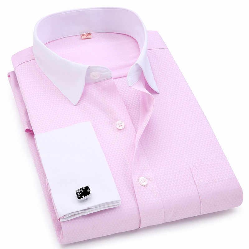 Mannen Franse Manchetknopen Shirts Witte Kraag Ontwerp Effen Kleur Jacquard Stof Mannelijke Gentleman Jurk Lange Mouwen Shirt