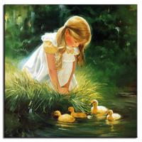 1 PCS Portrait Canvas Painting Mediterranean Style Cute Blonde Girl And The tiny Ducks Wall Picture Family Home Decor