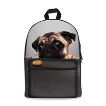 купить Canvas Backpack Black Daypack laptop Bag Cute Dog Design for Boys Girls School Bag дешево