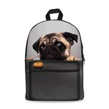 Canvas Backpack Black Daypack laptop Bag Cute Dog Design for Boys Girls School
