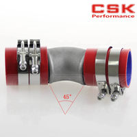 2.5 Cast Aluminum 45 Degree Elbow Pipe Turbo Intercooler+ silicone hose kit RED