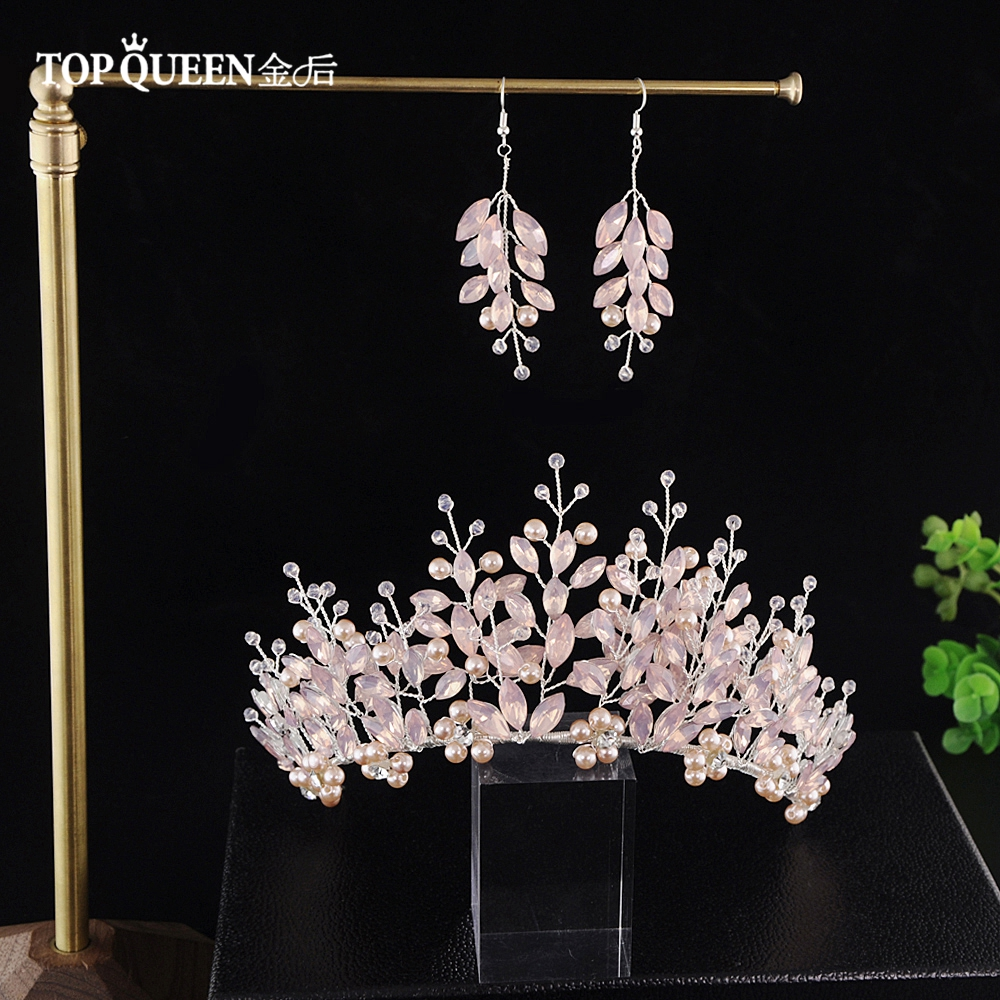 TOPQUEEN HP221 Adult Crowns And Tiaras Bridal Crown 2019 Accessories Women Crown Birthday Crown For Adults Pink Pageant Crown