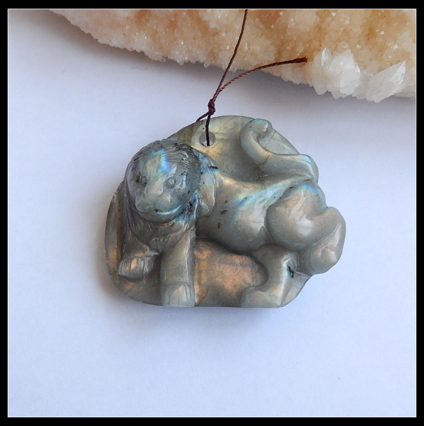 New Design Natural Stone Flashy Labradorite Handcarved Animal Running Lion Front Drilled Neckalce Pendant 47x55x22mm 58.28g new design natural stone flashy labradorite handcarved animal running lion front drilled neckalce pendant 47x55x22mm 58 28g