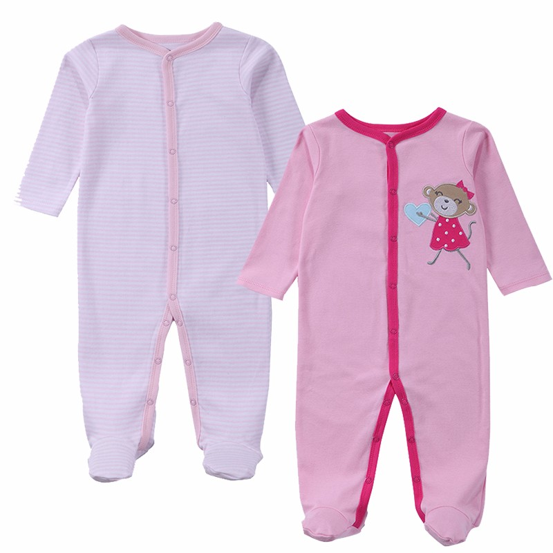2 Pcslot Baby Clothes Baby Boy Girls Footed Romper Baby Rompers 100% Cotton Sleep & Play Clothes Baby Pajamas Newborn Clothing (1)