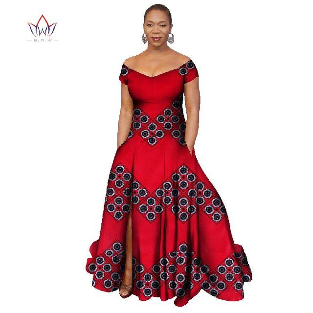 2019 Long Dress Africa Bazin Riche Wax Print Dresses Plus Size Vetement  Africain Pour Femme Ankara Dresses Vestidos WY445 229414d74fa6