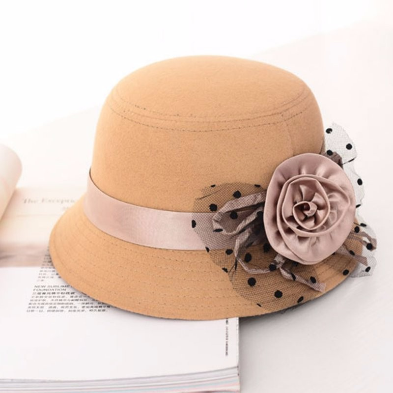 ed4cb3f853502 Silk Flower Hat Vintage Solid Ladie Women Fedora Beach Woolen Felt ...