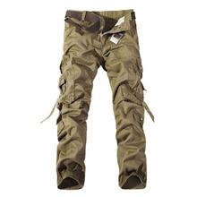 คุณภาพผู้ชายทหาร Camo Cargo กางเกงผ้าฝ้ายกางเกง cmbat ลวงตา overalls 28 40 AYG69