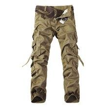 En kaliteli erkek askeri kamuflaj kargo pantolon eğlence pamuklu pantolon cmbat kamuflaj tulum 28 40 AYG69