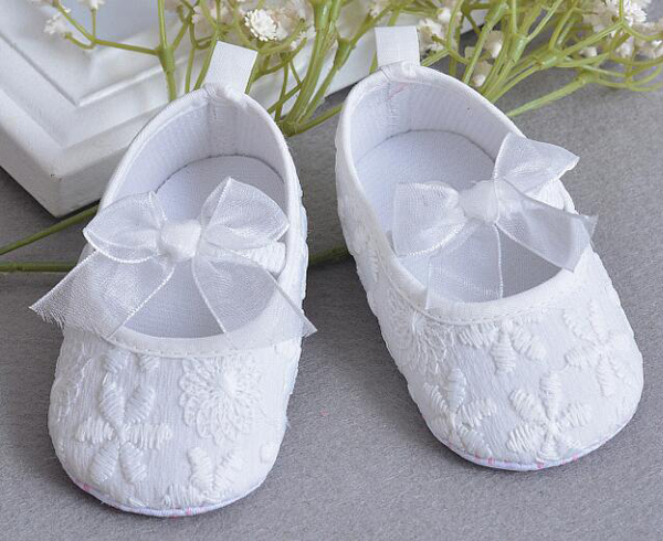 Baby Girls Shoes White Newly Born Cotton Infant Shoes Prewalkers Little Girls Crib Shoes Christenning Wedding Bow Baby Mary Jane