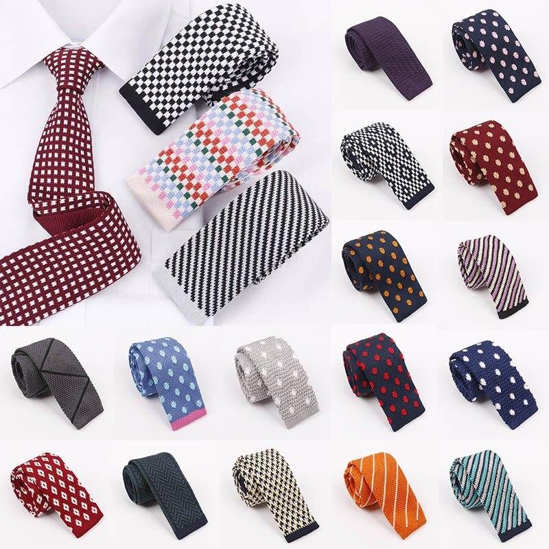 A Variety  Men's Necktie Knit Tie Flat Head 5 Cm Narrow Version Fashion Striped Plaid Tie Graduation Marriage Gift Accessories