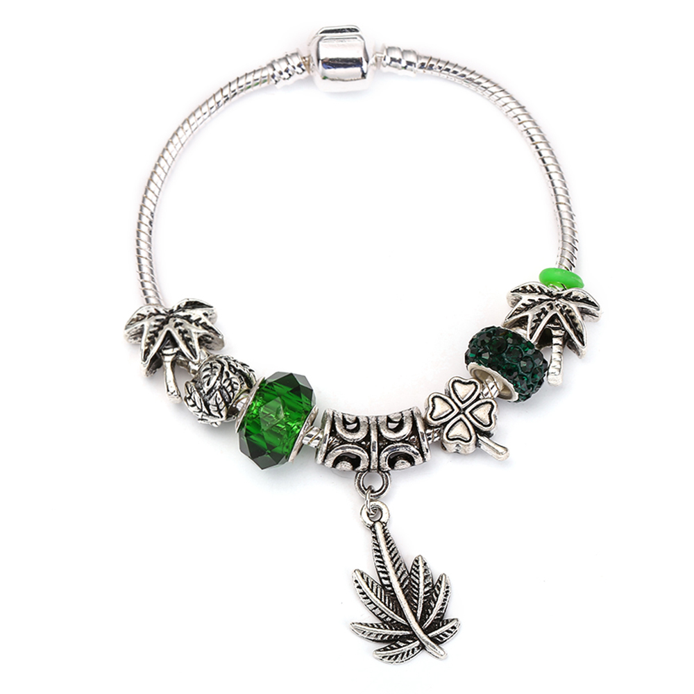 SPINNER Big Maple Leaves Dangle Charm Bracelet coconut tree Flower Asymmetry Crystal Ball fit Women DIY Pandora Bracelet Jewelry