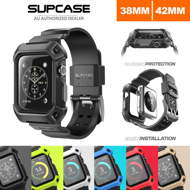reputable site 6e82f f0f77 US $34.11 |For Apple Watch 42mm 38mm Case Cover, Genuine SUPCASE HEAVY DUTY  TOUGH ARMOR Case-in Armbands from Cellphones & Telecommunications on ...