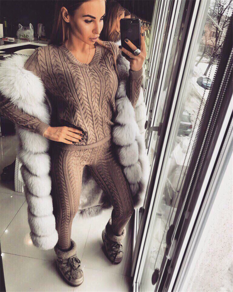 Tracksuits Time limited Cotton Full None Women Fashion Suits 2017 New Knitted Two Sets Of V