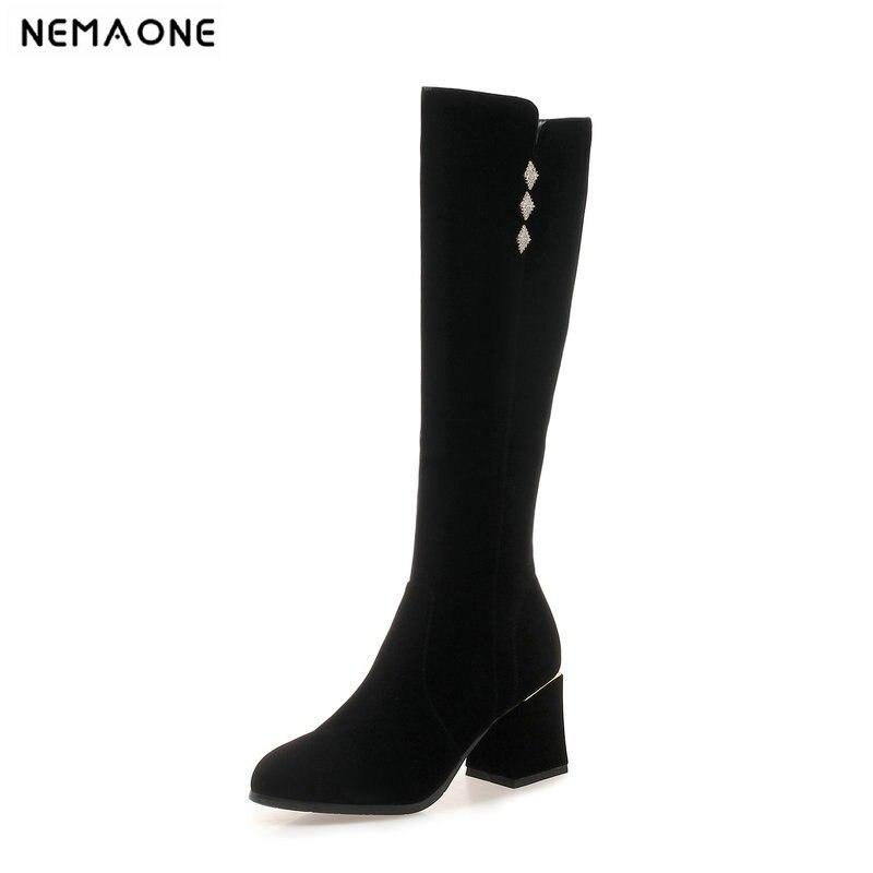 Mujer Rodilla Negro Tamaño Invierno 43 Señoras Altos Tacones Caliente Otoño Gran 42 Zapatos Botas Nemaone 4CRaqdnTq