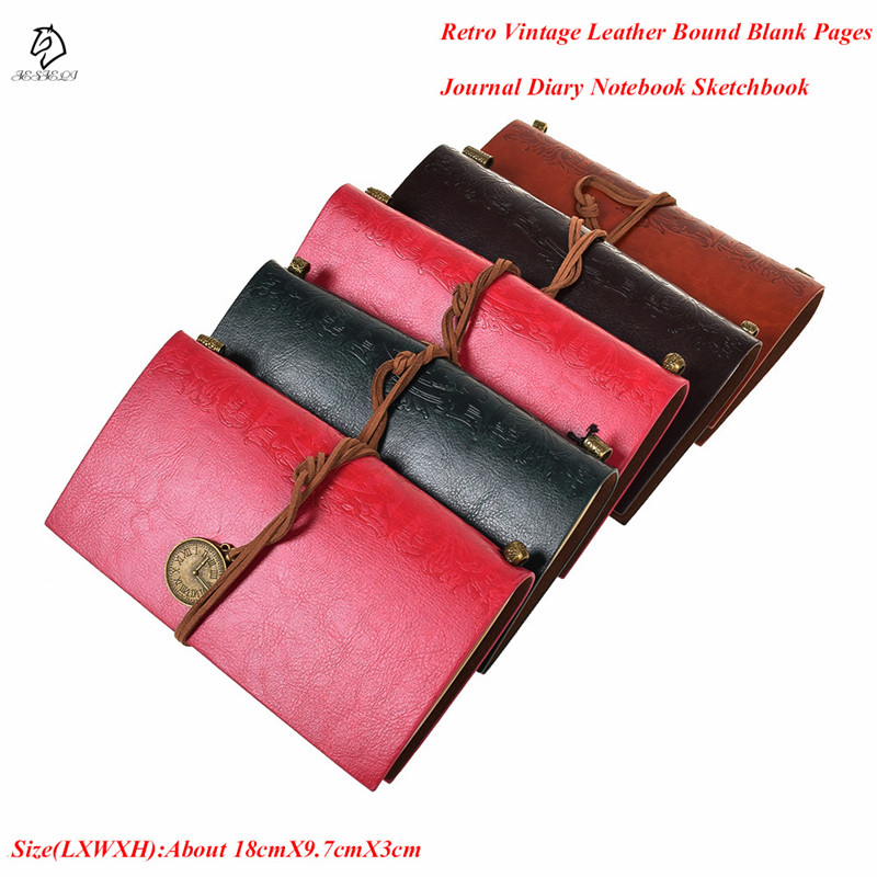 Hot Sale Classic Retro Vintage Leather Bound Blank Pages Journal Diary Notebook Sketchbook 18cm*9.7cm*3cm 10pcs dip ic socket connector adaptor solder type sockets 6 8 14 16 18 20 24 28 40 pins