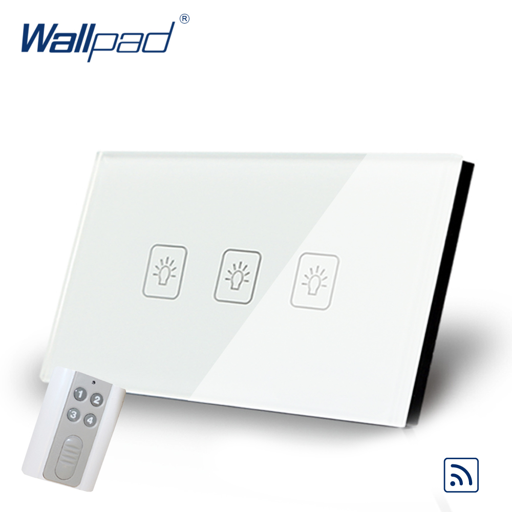 3 Gang 1 Way Remote Switch 118*72mm AU US Wallpad WhiteTempered Glass Wifi Support 3 Gang Remote Control Switches Free Shipping 3 gang 1 way 118 72mm wallpad white glass touch wall switch panel led 110v 250v au us switching power supply free shipping