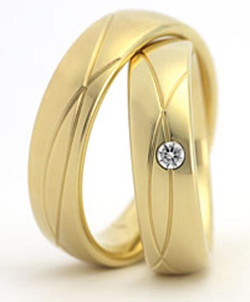 2014 Новый стиль Винтаж ювелирные его и ее золотое покрытие titanium обручальные Обручальные кольца наборы для обувь для мужчин и женщин