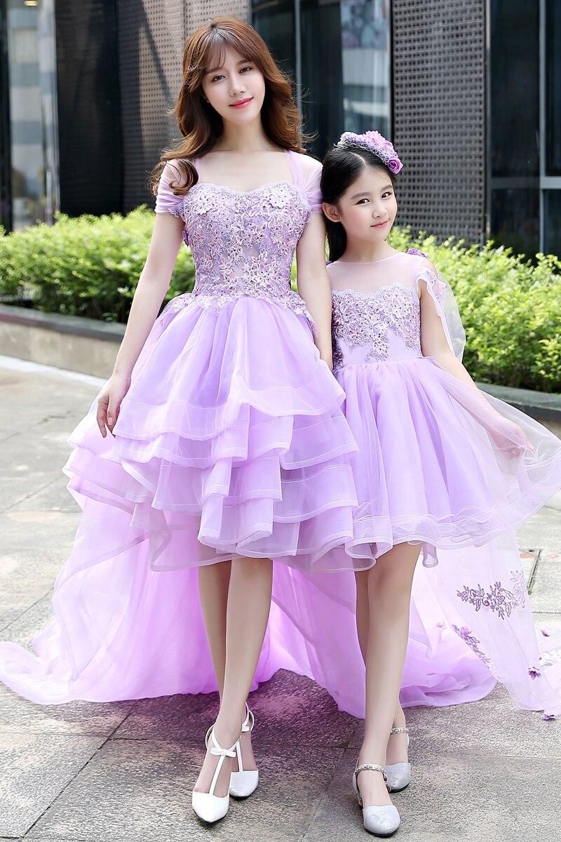 Mère fille filles robe de mariée robe de bal dentelle bal violet maman et moi vêtements floral tutu jupe famille correspondant tenues - 6