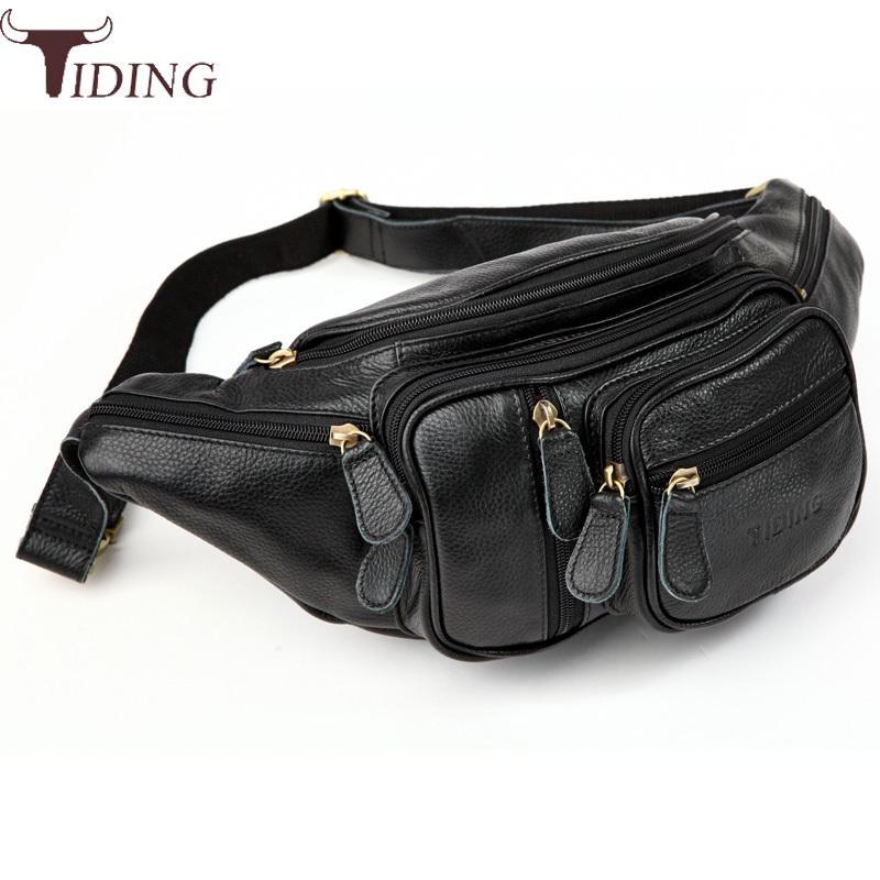 Tiding Casual Embossed Leather Waist Bags Pack Mens Fanny Packs Vintage Pillow Bum Bag Hip Belt