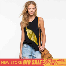 Streetwear Women Sexy Casual Off Shoulder Summer Tank Top Vest Blouse Tops Shirt leaf print Camisole moda mujer 2019 woman cloth недорого
