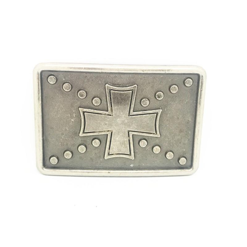 Rectangular Vintage Cross Cowboy Belt Buckle Metal Belt Clip Belt Accessories