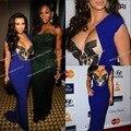 Hottest sexy sirena sin mangas kim kardashian vestido azul real en los academys grabación 2012 pre-grammy Vestidos de gala vestidos de la Celebridad