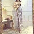 Женская мода Лето Dress Рукавов Элегантный Блестками Женские Длинные Party Club Slim Fit Сексуальные Платья M1435