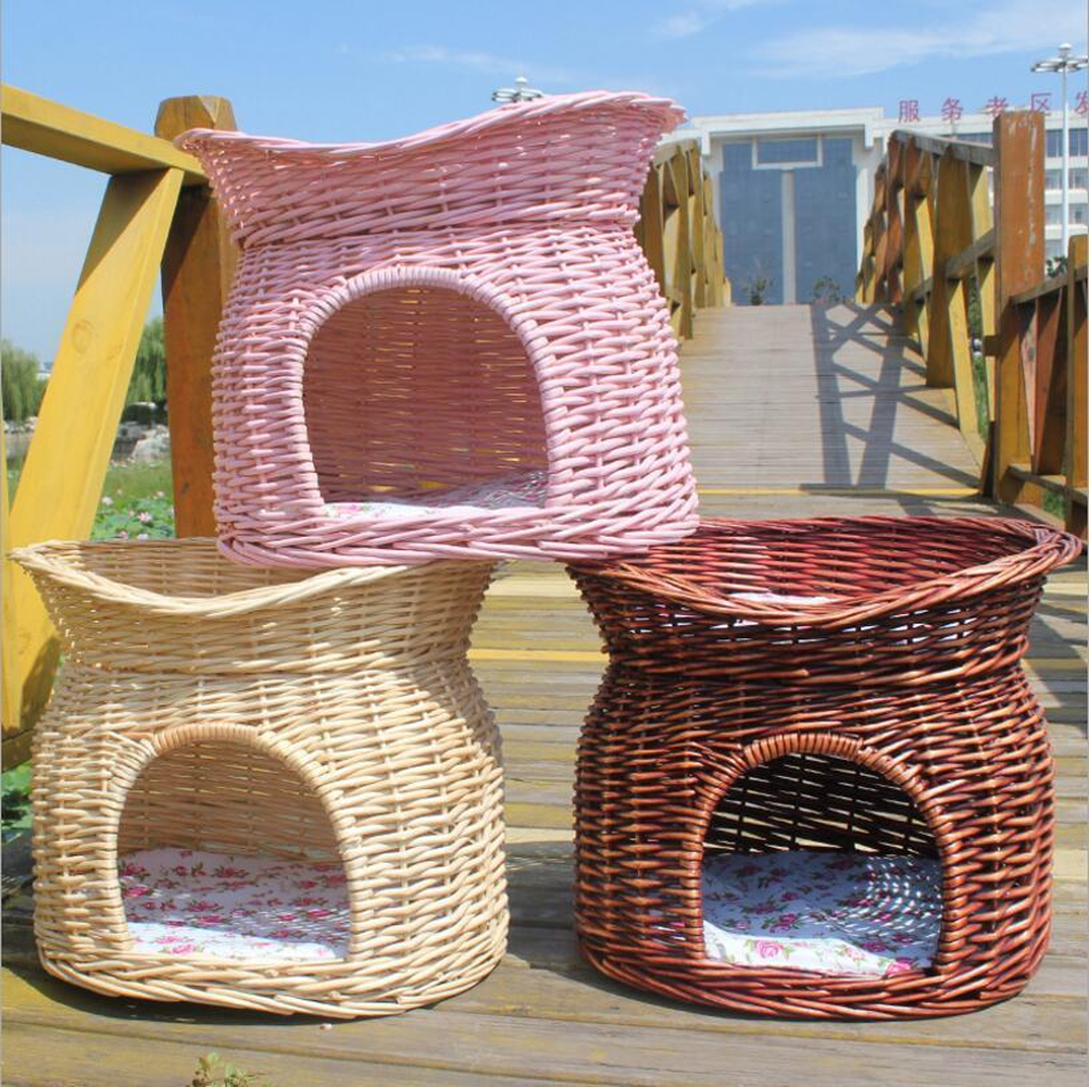 2 Tier Wicker Cat Bed House Basket Pet Pod House Sleeping Cave Handmade Puppy Small Pet