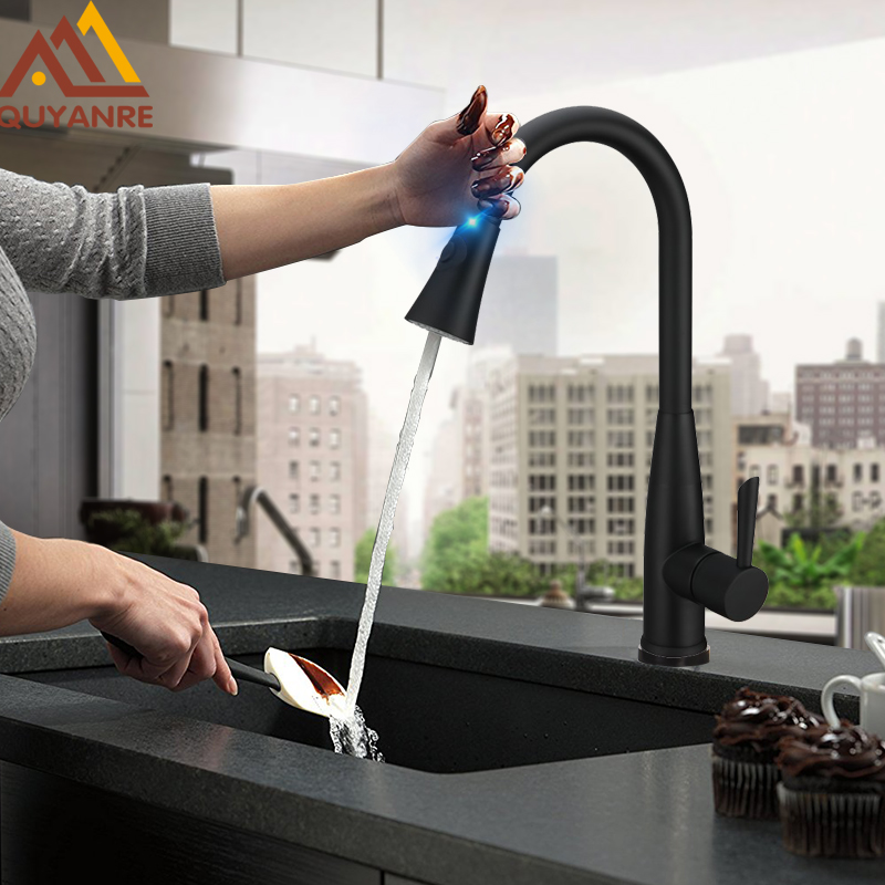 Quyanre Matte Black Sensor Kitchen Faucet Sensitive Smart Touch Control Faucet Mixer Tap Touch Sensor Smart Black Kitchen Tap