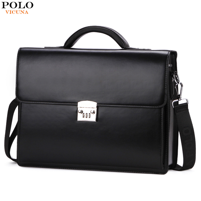 Vicuna Polo Luxury Famous Brand Password Lock Leather Bag Men Briefcase Business Office Maleta