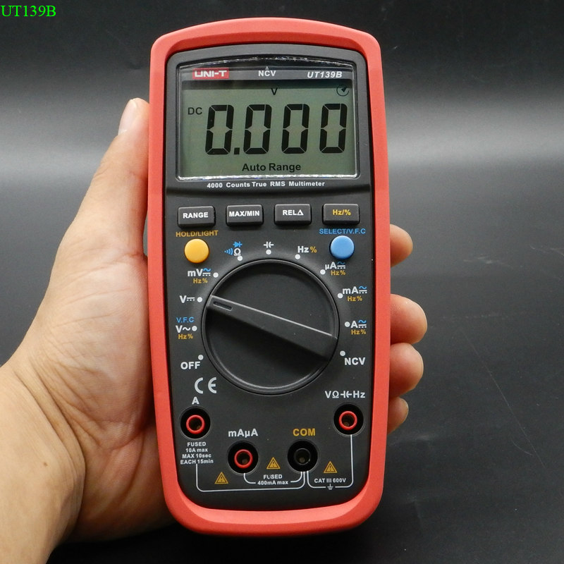 UNI-T UT139B Auto range Digital Multimeter True RMS 4000 Counts Capacitance & Frequency Test Multimetro LCR Meter with backlight multimeter test leads digital auto range