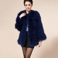 spring autumn winter ostrich fur jacket women natural real turkey fur coat middle long sleeve lady fashion warm outwear white